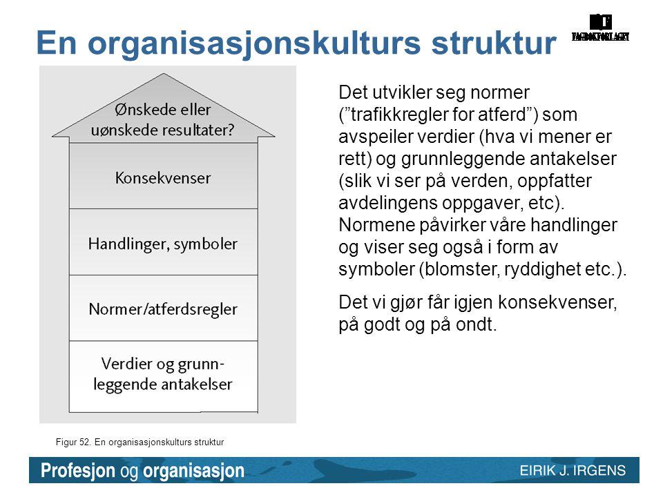 """Figur 52. En organisasjonskulturs struktur En organisasjonskulturs struktur Det utvikler seg normer (""""trafikkregler for atferd"""") som avspeiler verdier"""