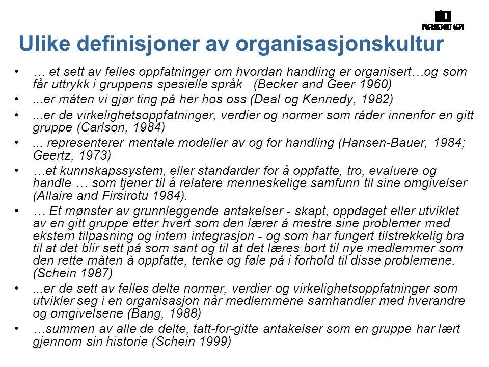Ulike definisjoner av organisasjonskultur •… et sett av felles oppfatninger om hvordan handling er organisert…og som får uttrykk i gruppens spesielle språk (Becker and Geer 1960) •...er måten vi gjør ting på her hos oss (Deal og Kennedy, 1982) •...er de virkelighetsoppfatninger, verdier og normer som råder innenfor en gitt gruppe (Carlson, 1984) •...