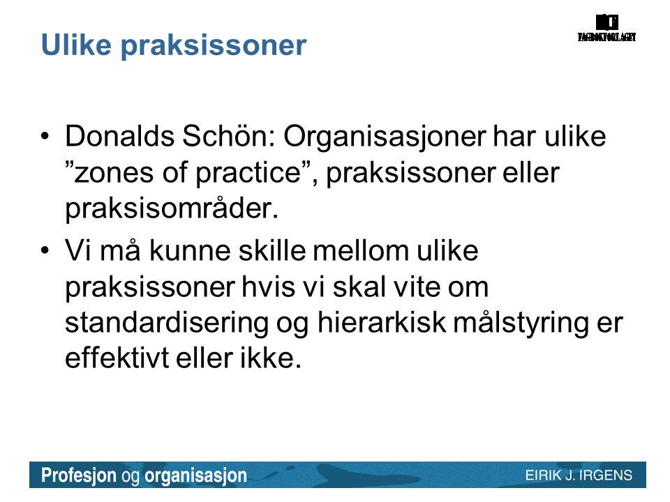 Ulike praksissoner •Donalds Schön: Organisasjoner har ulike zones of practice , praksissoner eller praksisområder.
