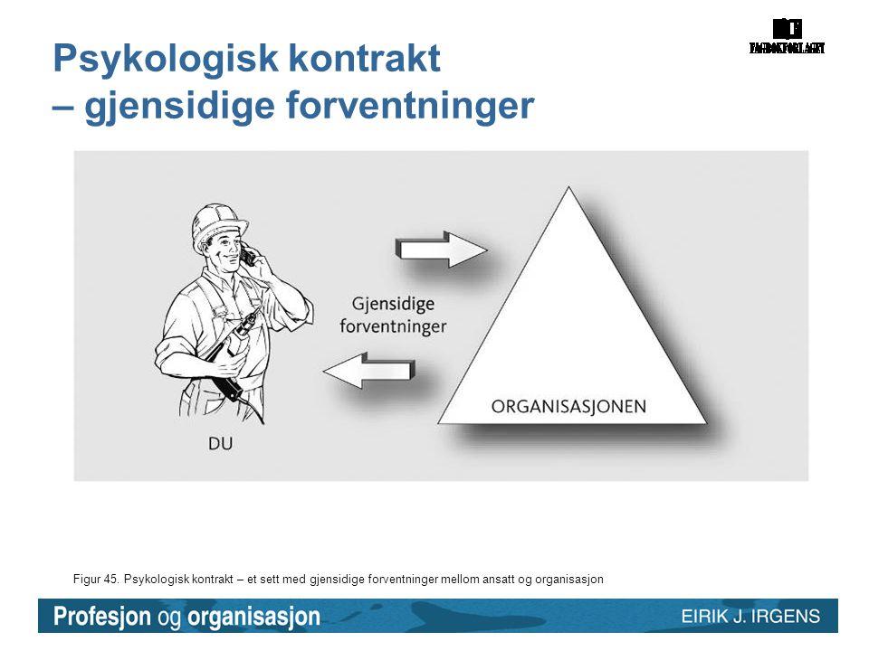 Figur 45. Psykologisk kontrakt – et sett med gjensidige forventninger mellom ansatt og organisasjon Psykologisk kontrakt – gjensidige forventninger