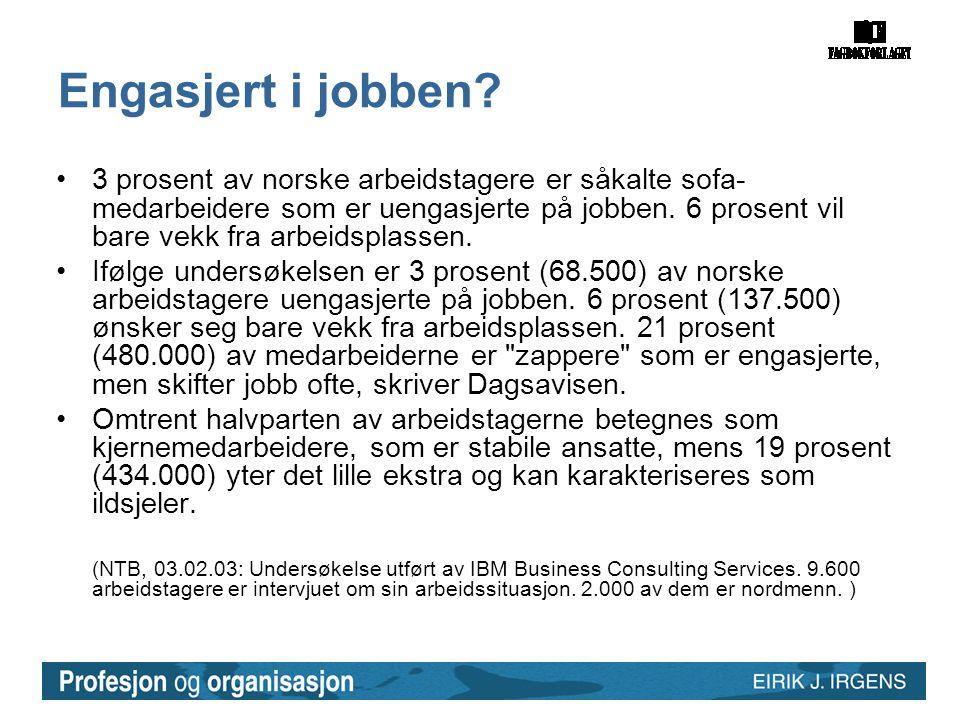 Engasjert i jobben? •3 prosent av norske arbeidstagere er såkalte sofa- medarbeidere som er uengasjerte på jobben. 6 prosent vil bare vekk fra arbeids
