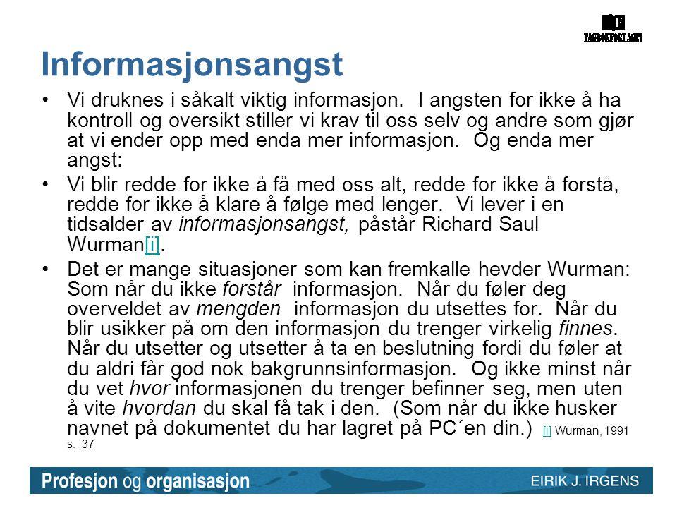Informasjonsangst •Vi druknes i såkalt viktig informasjon.