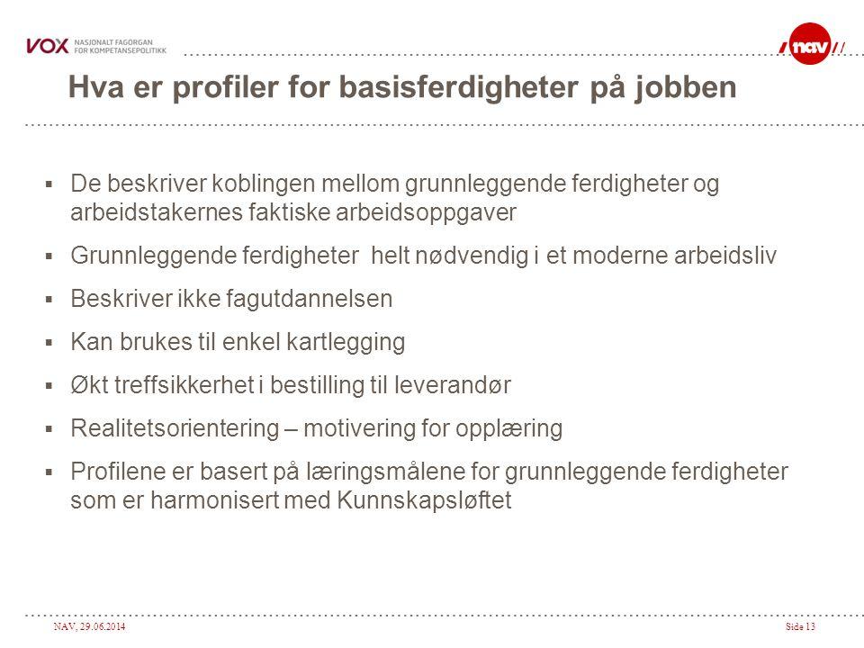 NAV, 29.06.2014Side 13 Hva er profiler for basisferdigheter på jobben  De beskriver koblingen mellom grunnleggende ferdigheter og arbeidstakernes fak