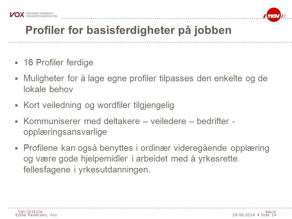 NAV, 29.06.2014Side 14 Profiler for basisferdigheter på jobben  16 Profiler ferdige  Muligheter for å lage egne profiler tilpasses den enkelte og de