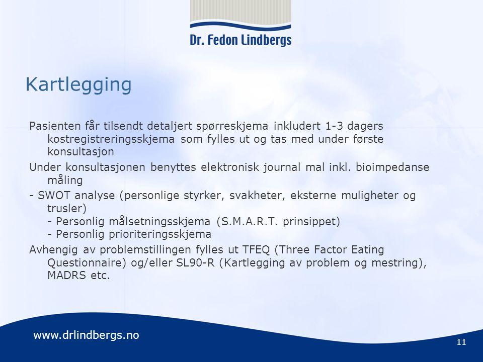 www.drlindbergs.no Kartlegging Pasienten får tilsendt detaljert spørreskjema inkludert 1-3 dagers kostregistreringsskjema som fylles ut og tas med und