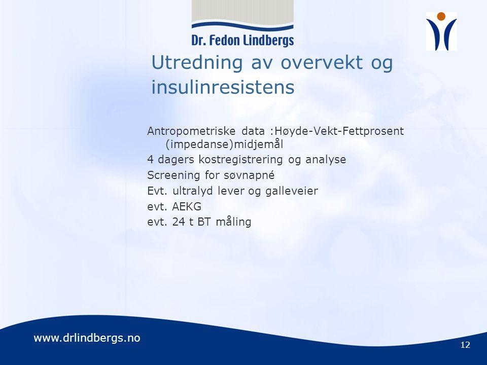 www.drlindbergs.no Utredning av overvekt og insulinresistens Antropometriske data :Høyde-Vekt-Fettprosent (impedanse)midjemål 4 dagers kostregistrerin