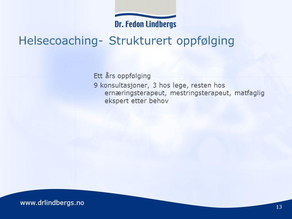 www.drlindbergs.no Helsecoaching- Strukturert oppfølging Ett års oppfølging 9 konsultasjoner, 3 hos lege, resten hos ernæringsterapeut, mestringsterap