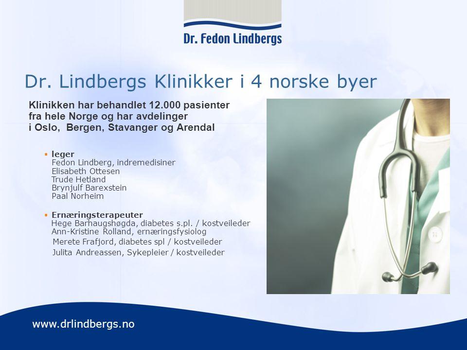 www.drlindbergs.no Dr. Lindbergs Klinikker i 4 norske byer Klinikken har behandlet 12.000 pasienter fra hele Norge og har avdelinger i Oslo, Bergen, S