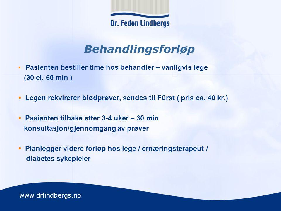 www.drlindbergs.no Kartlegging Sykehistorie Familieanamnese Kostanamnese / Vektanamnese Mosjonsfrekvens/type Adferds anamnese (livsvaner, søvn, forhold, stressmestring, prioriteringer, avhengighet) Blodprøver Impedanse vekt Individuelle råd, basert på pasientens mål, preferanser, vaner, hverdager og ønsker Lager behandlingsopplegg i samarbeid med pasienten.