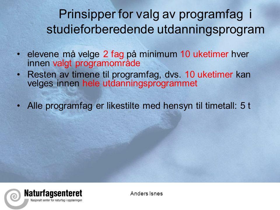 Anders Isnes Prinsipper for valg av programfag i studieforberedende utdanningsprogram •elevene må velge 2 fag på minimum 10 uketimer hver innen valgt