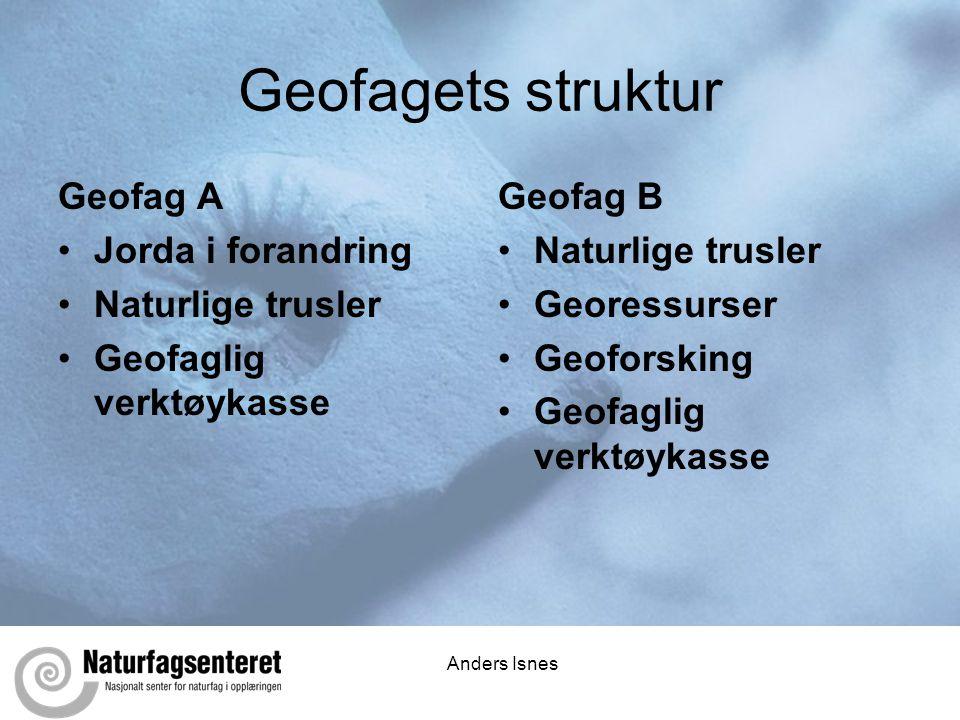 Anders Isnes Geofagets struktur Geofag A •Jorda i forandring •Naturlige trusler •Geofaglig verktøykasse Geofag B •Naturlige trusler •Georessurser •Geo