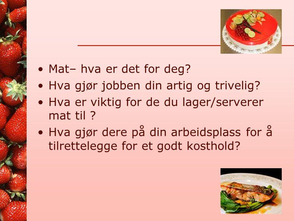 Program •Hverdagsmat – anbefalinger – hva er viktig? •Under- og overernæring – utfordringer? •Diabetes •Dietter – litt av hvert… •Andre ønsker? •Lunsj