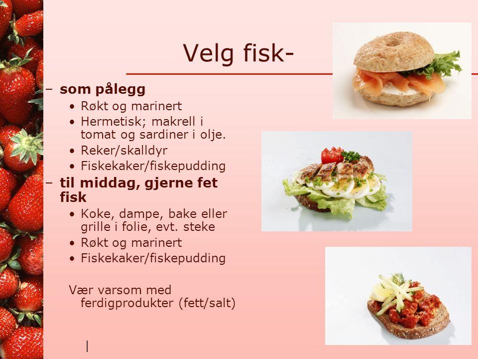 | Kjøttpålegg •Salami –Energi 420 kcal –Protein 19g –Karbohydrat 2,5g –Fett 37g •Lett- Salami –Energi 335 kcal –Protein 22g –Karbohydrat 1,6g –Fett 23