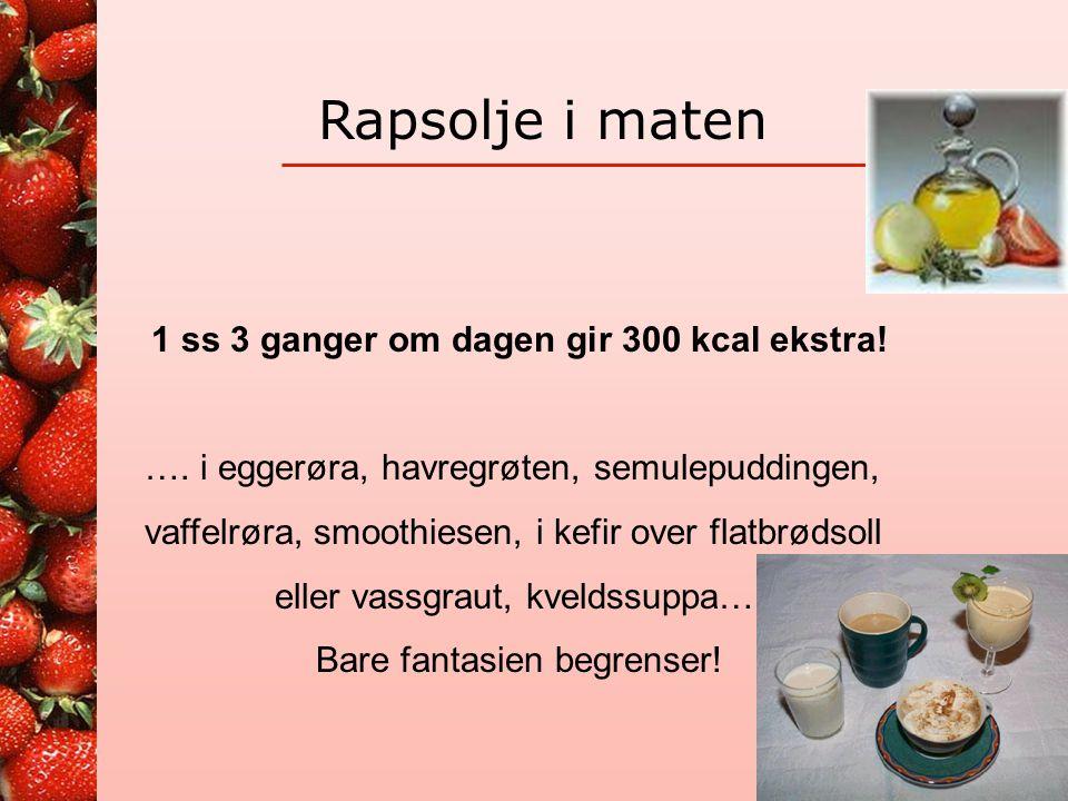 Yoghurt Per beger 125 ml = ca 120 kcal Med 1 ss olje = ca kcal