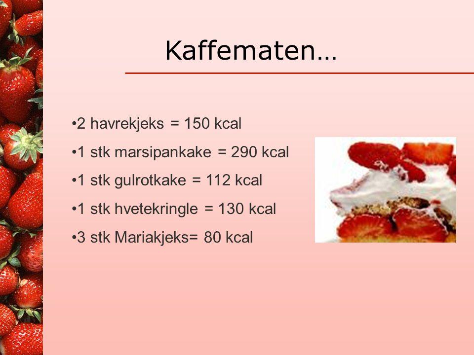 Porsjonseksempel •2 poteter, 2 kjøttkaker, 200 gr grønnsaker, 3/4 dl saus •Totalt 495 kcal, 22 gr fett •1 potet, 4 kjøttkaker, 125 gr grønnsaker, 2 dl