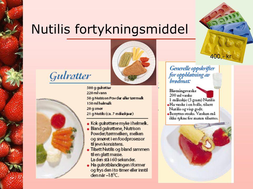 Nutilis •Nutilis er amylasersistent •Hva når spytt blir med opp i koppen? Nutilis beholder konsistensen Konkurrentenes fortykningsmidler (rosa er fri