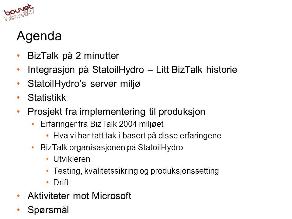 Agenda •BizTalk på 2 minutter •Integrasjon på StatoilHydro – Litt BizTalk historie •StatoilHydro's server miljø •Statistikk •Prosjekt fra implementering til produksjon •Erfaringer fra BizTalk 2004 miljøet •Hva vi har tatt tak i basert på disse erfaringene •BizTalk organisasjonen på StatoilHydro •Utvikleren •Testing, kvalitetssikring og produksjonssetting •Drift •Aktiviteter mot Microsoft •Spørsmål