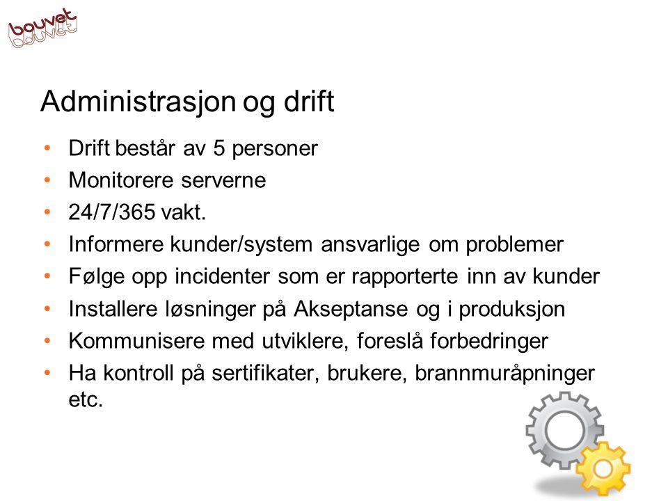Administrasjon og drift •Drift består av 5 personer •Monitorere serverne •24/7/365 vakt.