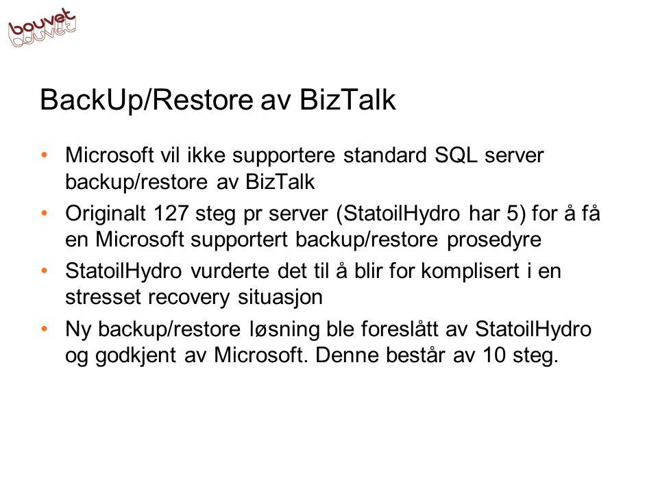 BackUp/Restore av BizTalk •Microsoft vil ikke supportere standard SQL server backup/restore av BizTalk •Originalt 127 steg pr server (StatoilHydro har 5) for å få en Microsoft supportert backup/restore prosedyre •StatoilHydro vurderte det til å blir for komplisert i en stresset recovery situasjon •Ny backup/restore løsning ble foreslått av StatoilHydro og godkjent av Microsoft.