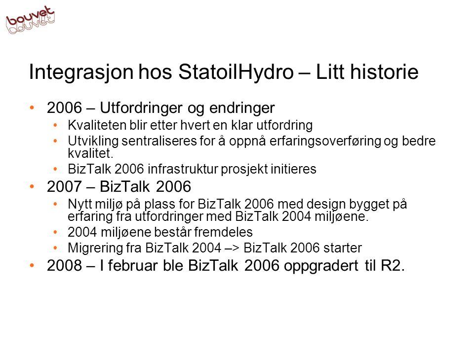 Integrasjon hos StatoilHydro – Litt historie •2006 – Utfordringer og endringer •Kvaliteten blir etter hvert en klar utfordring •Utvikling sentraliseres for å oppnå erfaringsoverføring og bedre kvalitet.
