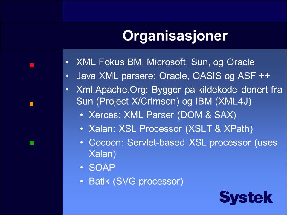 Eksempler på XML-språk •XSLT er selv et XML språk •XHTML 1.0 •VoiceXML •SOAP •SVG •SMIL •MathML •WML