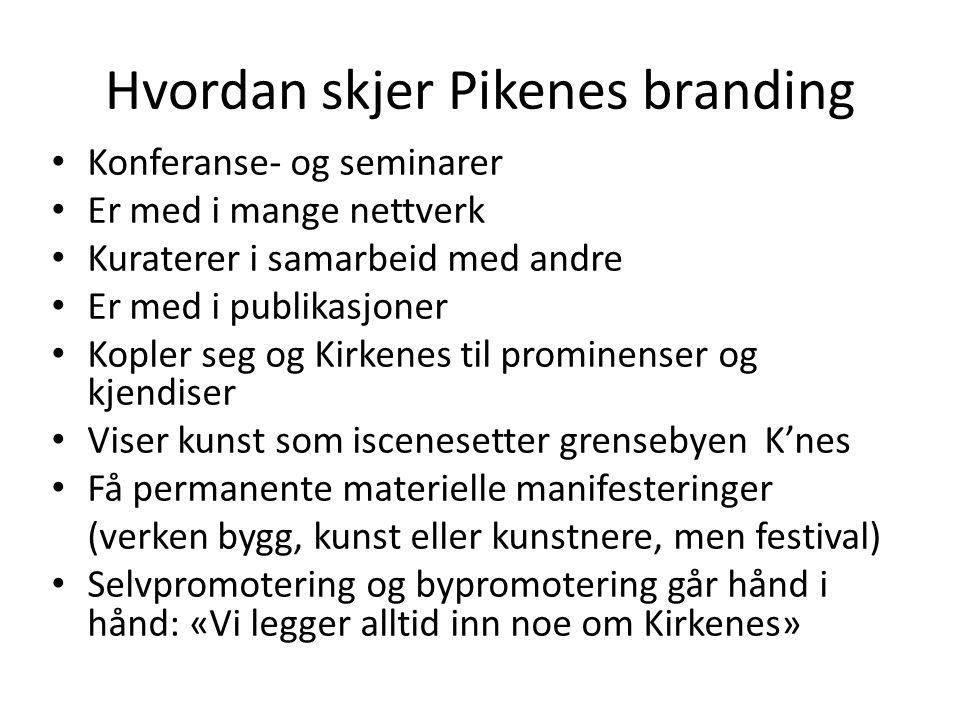 Hvordan skjer Pikenes branding • Konferanse- og seminarer • Er med i mange nettverk • Kuraterer i samarbeid med andre • Er med i publikasjoner • Kople