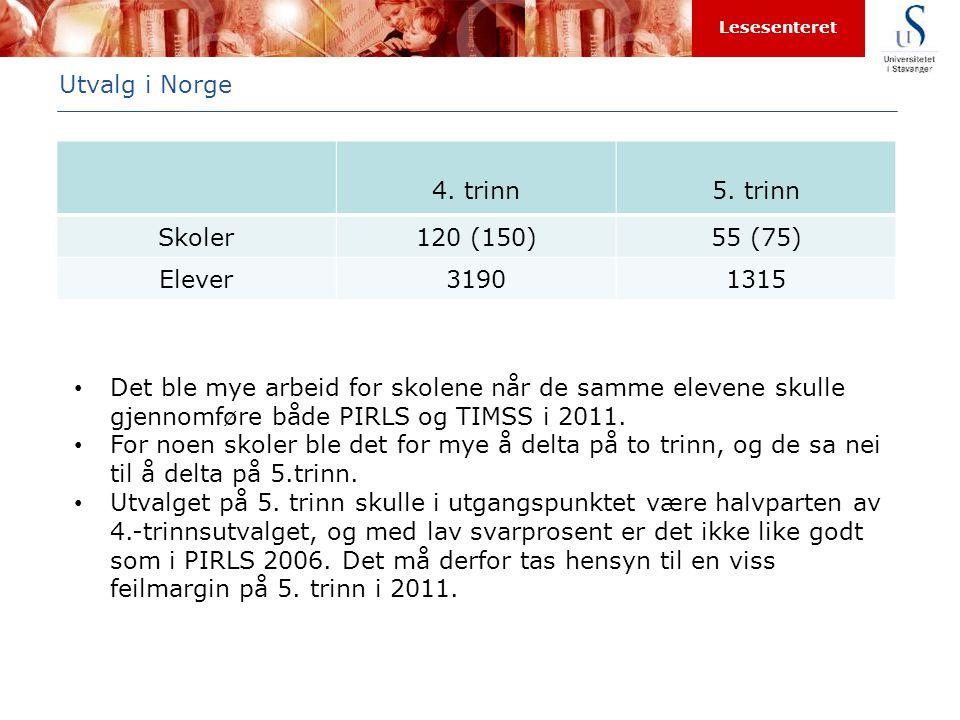 Lesesenteret Utvalg i Norge 4. trinn5. trinn Skoler120 (150)55 (75) Elever31901315 • Det ble mye arbeid for skolene når de samme elevene skulle gjenno