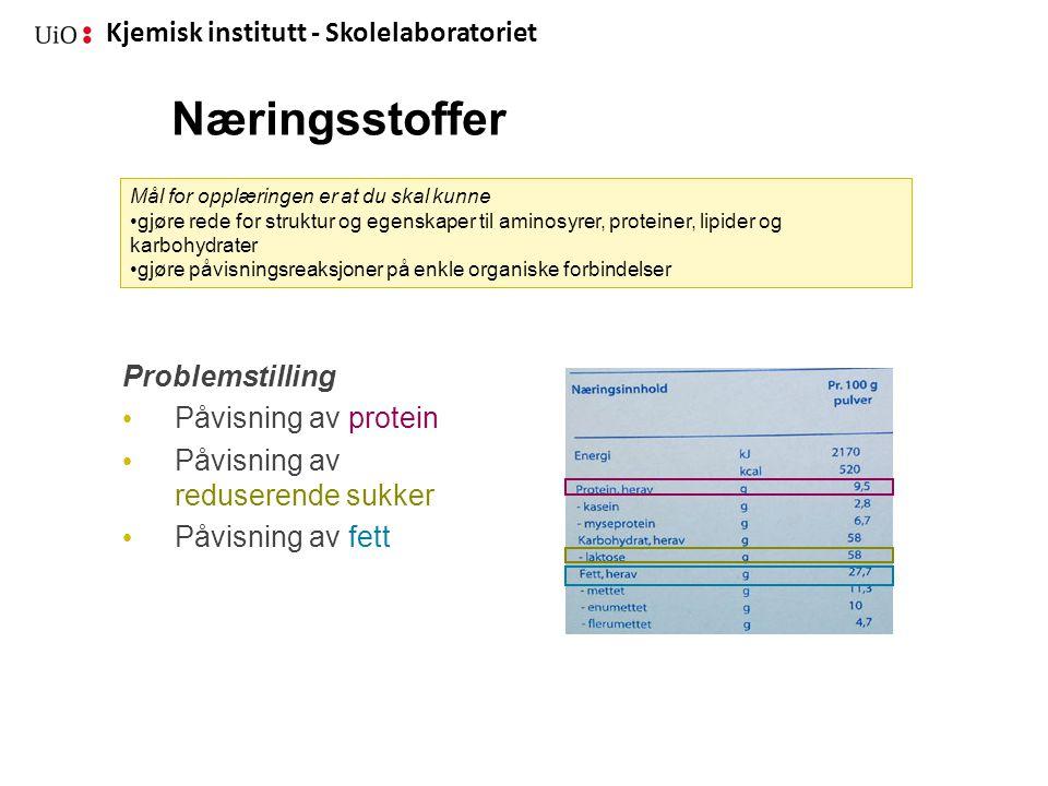 Kjemisk institutt - Skolelaboratoriet Næringsstoffer Problemstilling • Påvisning av protein • Påvisning av reduserende sukker • Påvisning av fett Mål