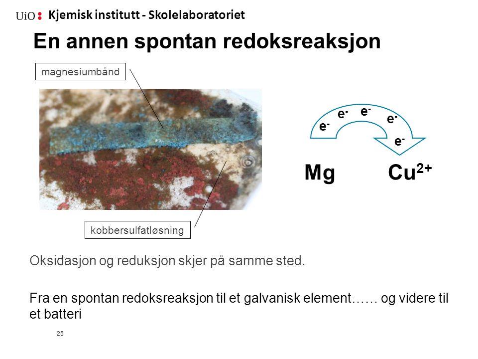 Kjemisk institutt - Skolelaboratoriet 25 En annen spontan redoksreaksjon Mg Cu 2+ e-e- e-e- e-e- e-e- e-e- Oksidasjon og reduksjon skjer på samme sted
