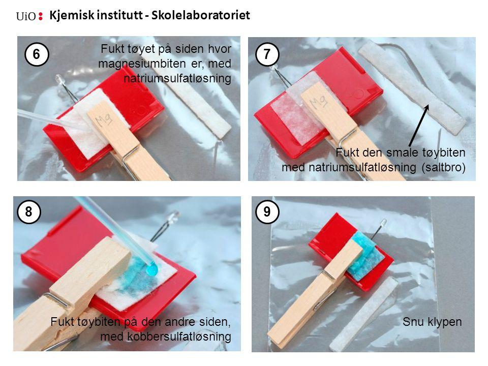 Kjemisk institutt - Skolelaboratoriet 29 Fukt tøyet på siden hvor magnesiumbiten er, med natriumsulfatløsning Fukt den smale tøybiten med natriumsulfa