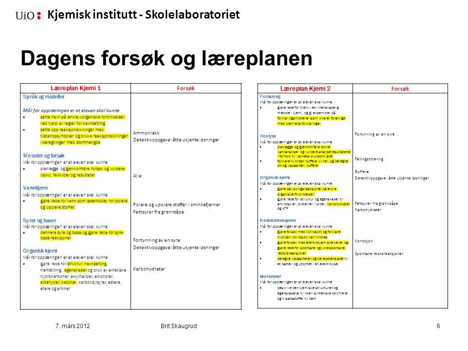 Kjemisk institutt - Skolelaboratoriet 7. mars 2012Brit Skaugrud6 Læreplan Kjemi 1 Forsøk Språk og modeller Mål for opplæringen er at eleven skal kunne