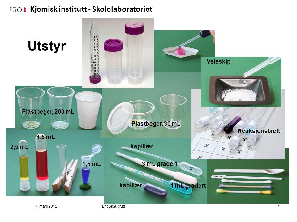 Kjemisk institutt - Skolelaboratoriet Utstyr 7. mars 2012Brit Skaugrud7 2,5 mL 4,5 mL 1,5 mL 3 mL gradert 1 mL gradert kapillær Plastbeger, 30 mL Plas