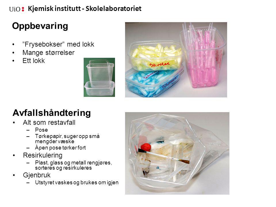 Kjemisk institutt - Skolelaboratoriet Nye ideer.