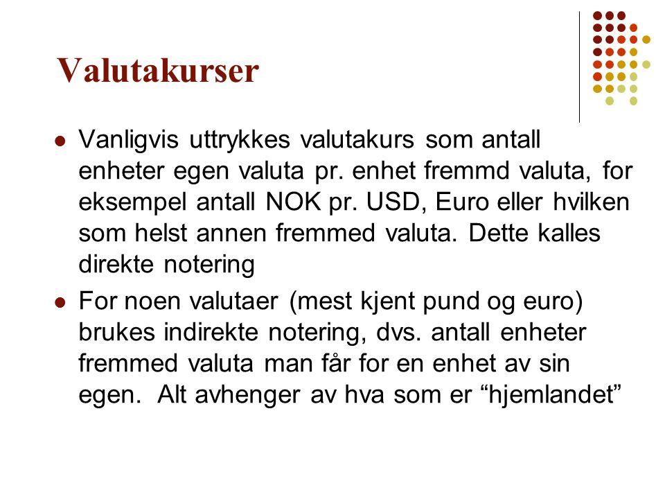 Valutakurser  Vanligvis uttrykkes valutakurs som antall enheter egen valuta pr. enhet fremmd valuta, for eksempel antall NOK pr. USD, Euro eller hvil