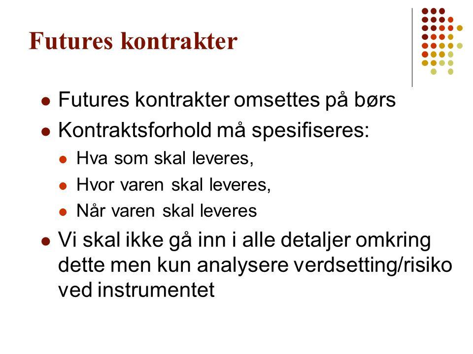 Futures kontrakter  Futures kontrakter omsettes på børs  Kontraktsforhold må spesifiseres:  Hva som skal leveres,  Hvor varen skal leveres,  Når