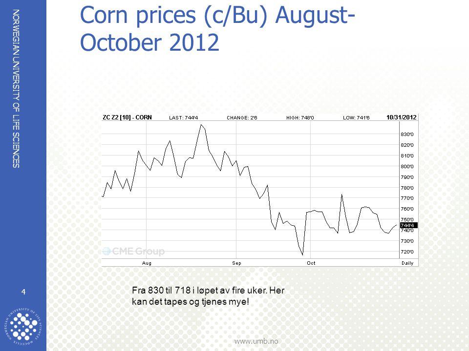 NORWEGIAN UNIVERSITY OF LIFE SCIENCES www.umb.no Corn prices /c/bu) December 2012 contract since 2009 5 Vi skulle ha kjøpt vinteren 2010!