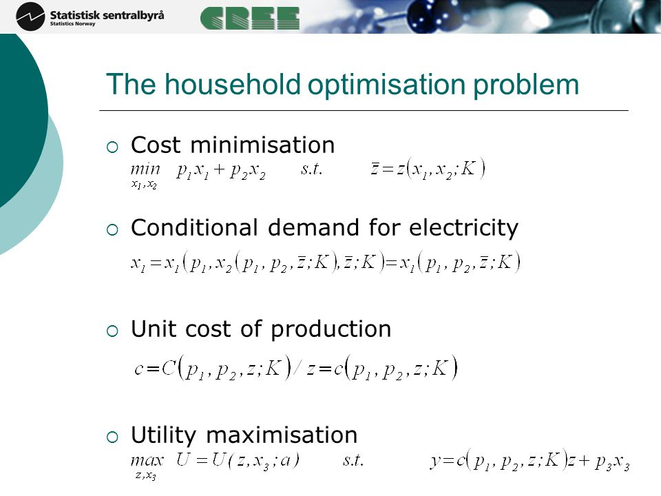 The household optimisation problem  Cost minimisation  Conditional demand for electricity  Unit cost of production  Utility maximisation
