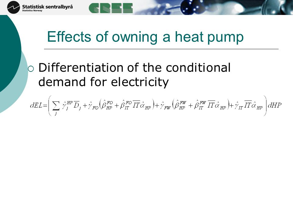 Effects of owning a heat pump  Differentiation of the conditional demand for electricity