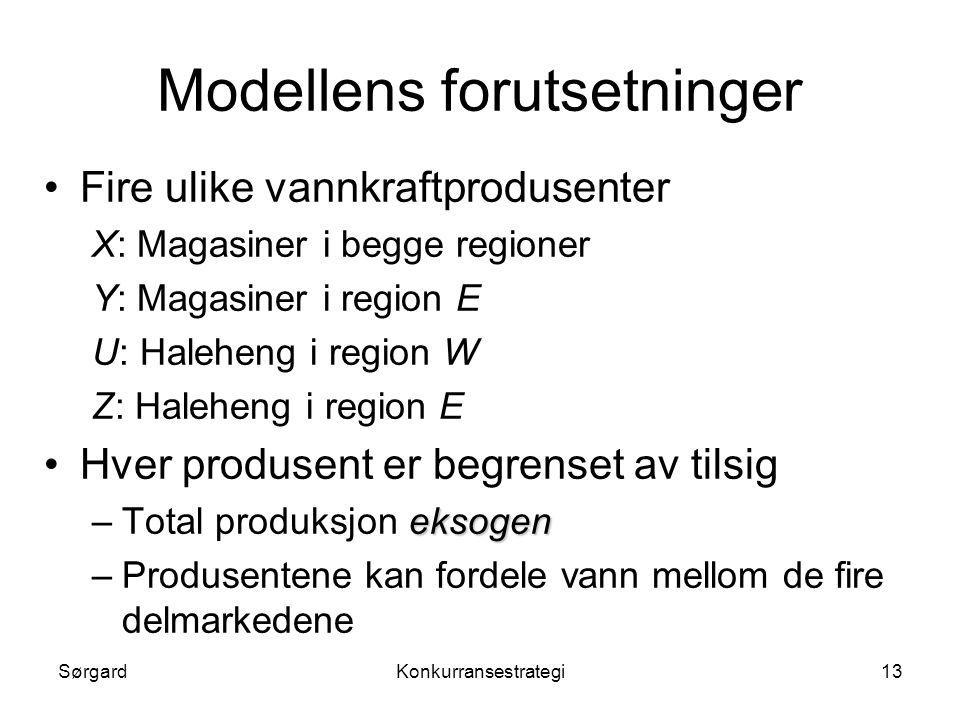 SørgardKonkurransestrategi13 Modellens forutsetninger •Fire ulike vannkraftprodusenter X: Magasiner i begge regioner Y: Magasiner i region E U: Halehe