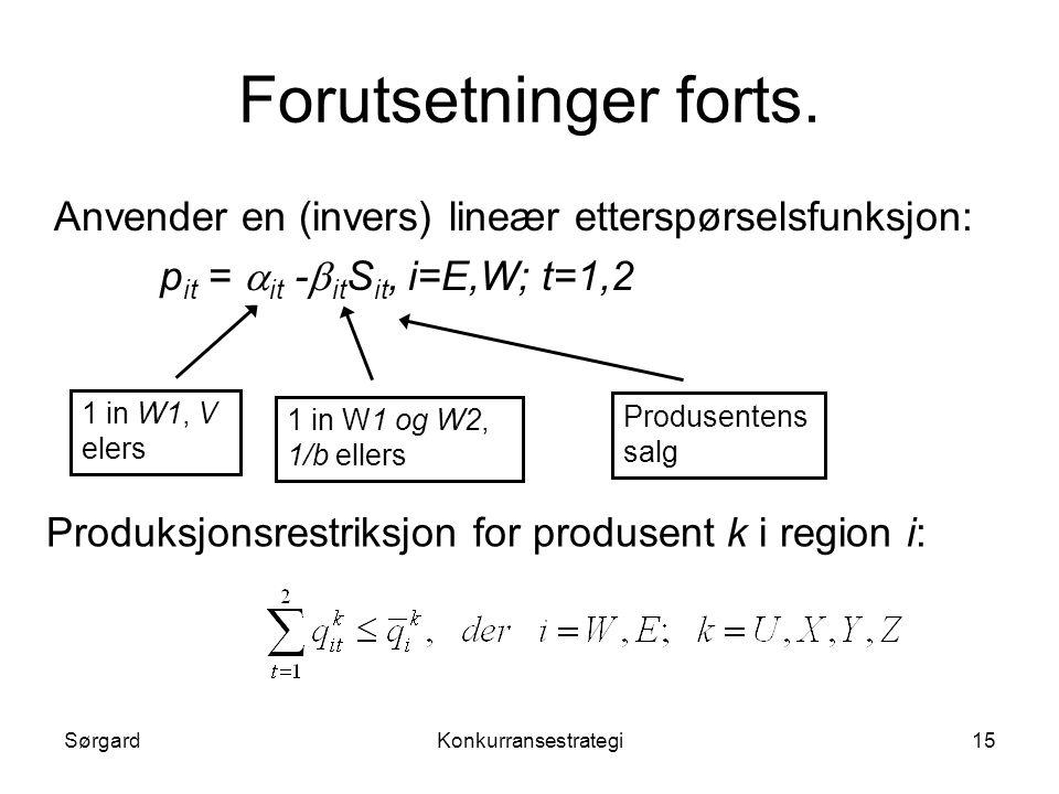 SørgardKonkurransestrategi15 Forutsetninger forts. Anvender en (invers) lineær etterspørselsfunksjon: p it =  it -  it S it, i=E,W; t=1,2 1 in W1, V
