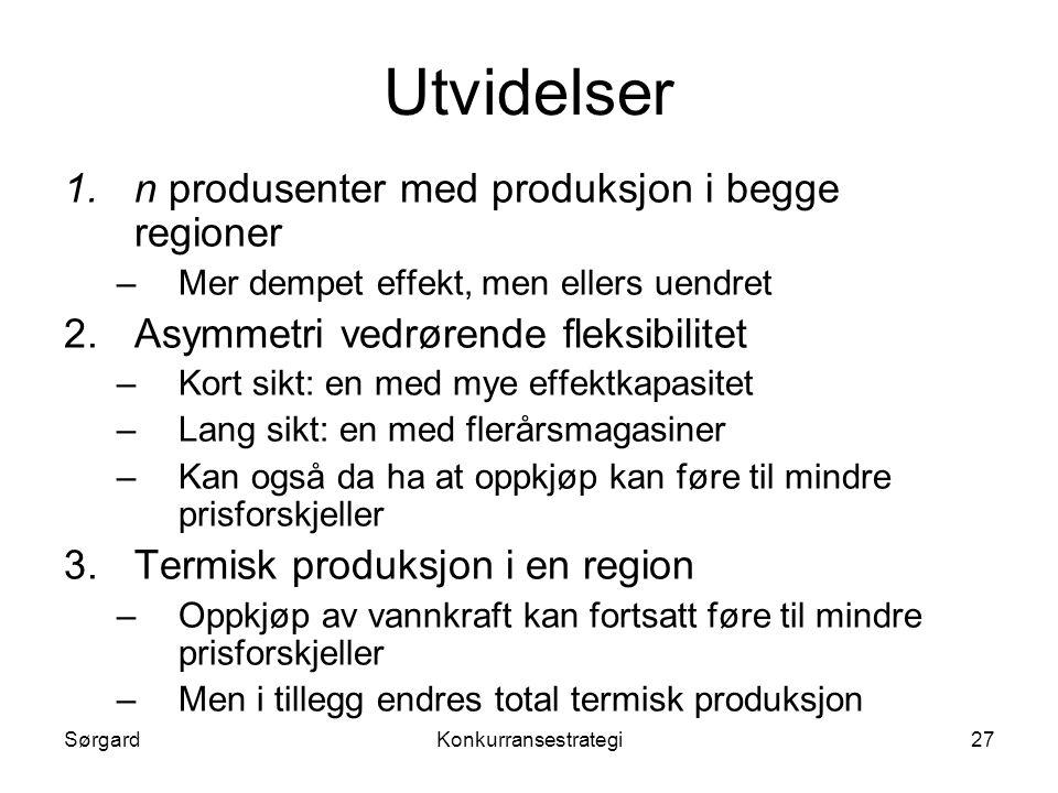 SørgardKonkurransestrategi27 Utvidelser 1.n produsenter med produksjon i begge regioner –Mer dempet effekt, men ellers uendret 2.Asymmetri vedrørende