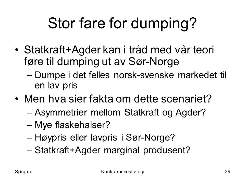 SørgardKonkurransestrategi29 Stor fare for dumping? •Statkraft+Agder kan i tråd med vår teori føre til dumping ut av Sør-Norge –Dumpe i det felles nor