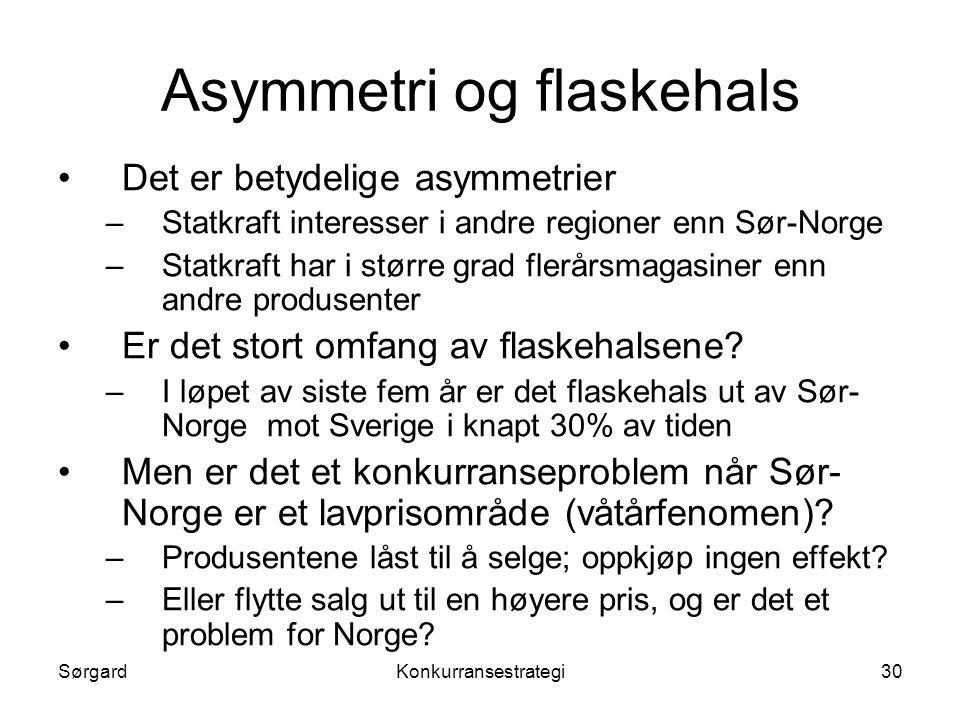 SørgardKonkurransestrategi30 Asymmetri og flaskehals •Det er betydelige asymmetrier –Statkraft interesser i andre regioner enn Sør-Norge –Statkraft ha