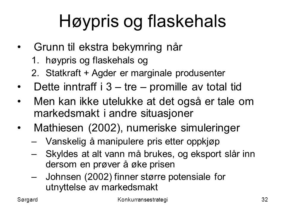 SørgardKonkurransestrategi32 Høypris og flaskehals •Grunn til ekstra bekymring når 1.høypris og flaskehals og 2.Statkraft + Agder er marginale produse
