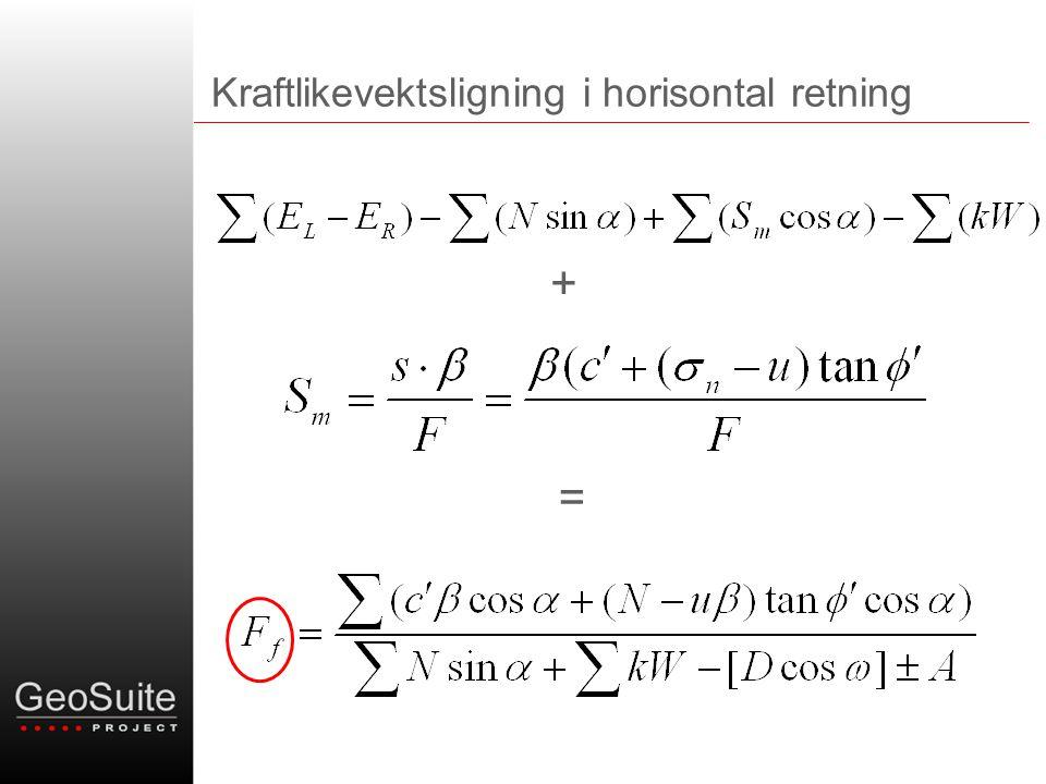 Kraftlikevektsligning i horisontal retning + =