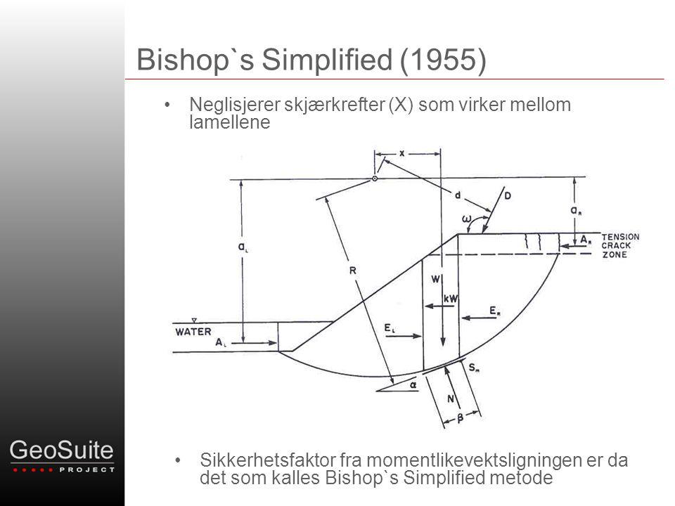 Bishop`s Simplified (1955) •Neglisjerer skjærkrefter (X) som virker mellom lamellene X X •Sikkerhetsfaktor fra momentlikevektsligningen er da det som kalles Bishop`s Simplified metode