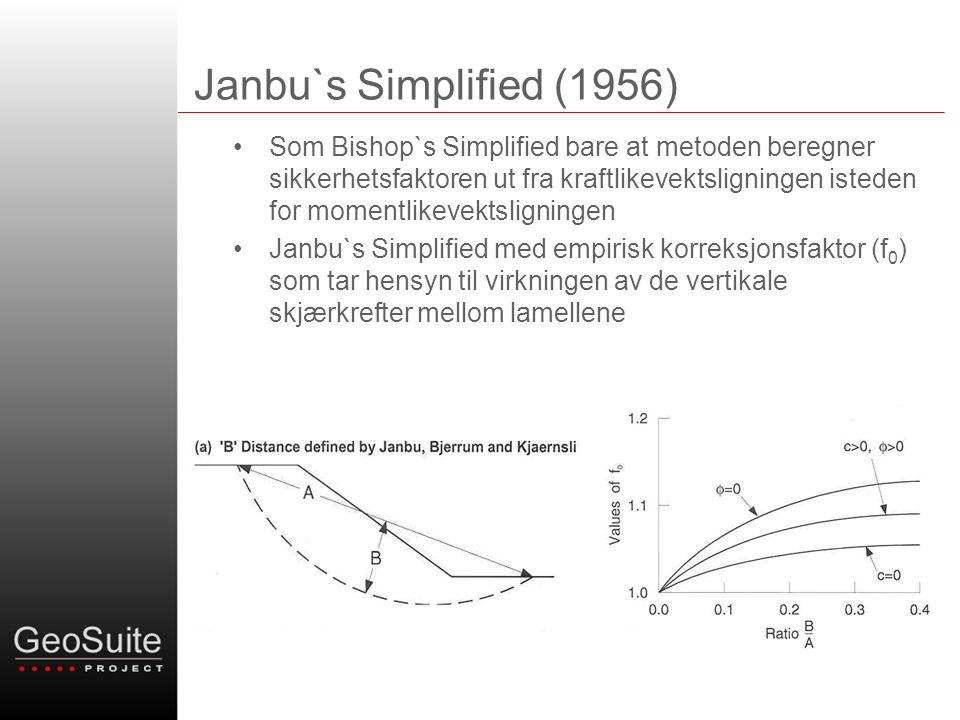 Janbu`s Simplified (1956) •Som Bishop`s Simplified bare at metoden beregner sikkerhetsfaktoren ut fra kraftlikevektsligningen isteden for momentlikevektsligningen •Janbu`s Simplified med empirisk korreksjonsfaktor (f 0 ) som tar hensyn til virkningen av de vertikale skjærkrefter mellom lamellene