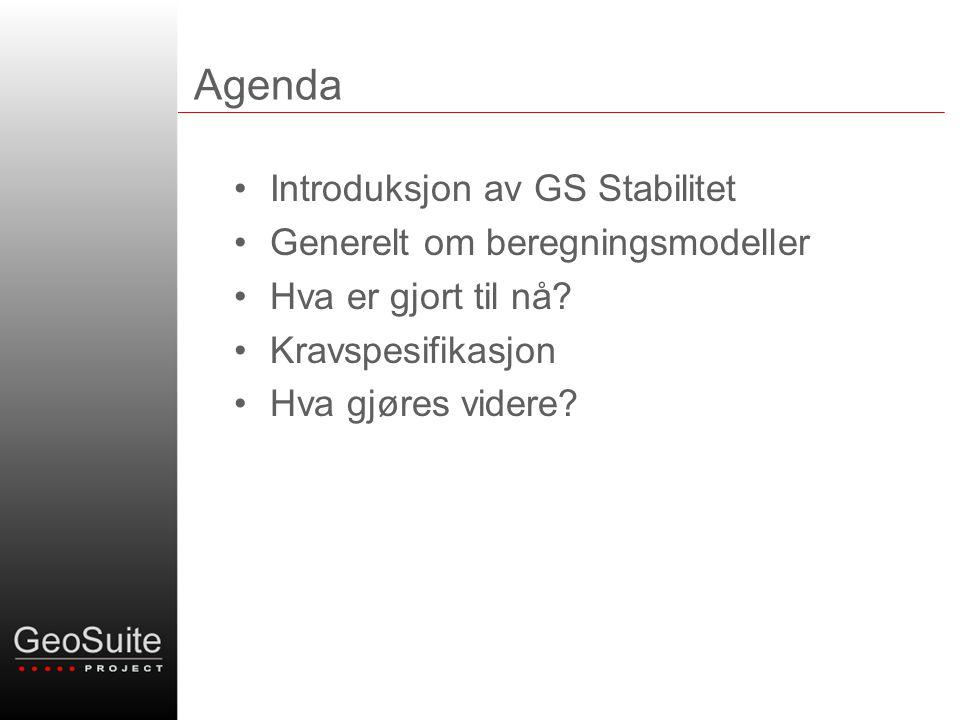 Agenda •Introduksjon av GS Stabilitet •Generelt om beregningsmodeller •Hva er gjort til nå? •Kravspesifikasjon •Hva gjøres videre?