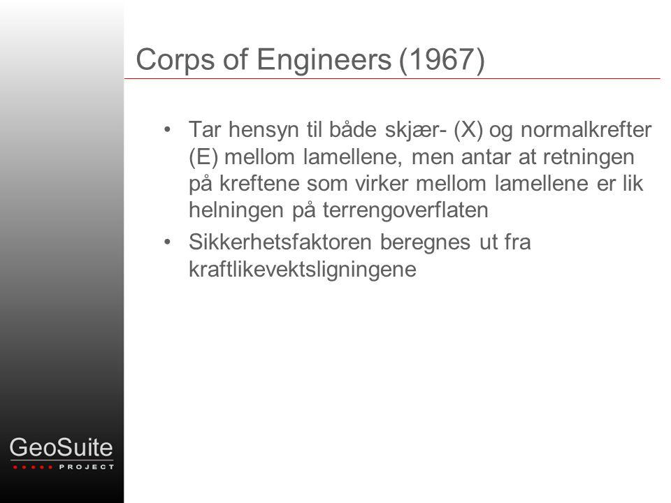 Corps of Engineers (1967) •Tar hensyn til både skjær- (X) og normalkrefter (E) mellom lamellene, men antar at retningen på kreftene som virker mellom lamellene er lik helningen på terrengoverflaten •Sikkerhetsfaktoren beregnes ut fra kraftlikevektsligningene