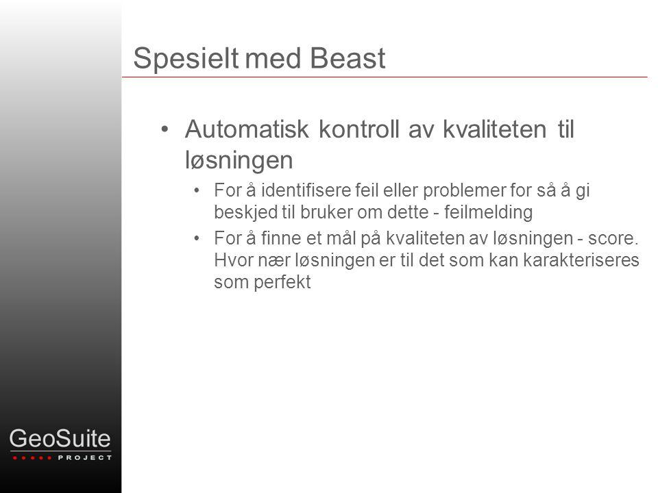 Spesielt med Beast •Automatisk kontroll av kvaliteten til løsningen •For å identifisere feil eller problemer for så å gi beskjed til bruker om dette - feilmelding •For å finne et mål på kvaliteten av løsningen - score.
